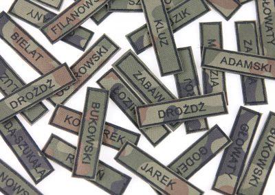 naszywka imienniki, imiennik, wojskowy identyfikator, imienniki haftowane wz93 moro